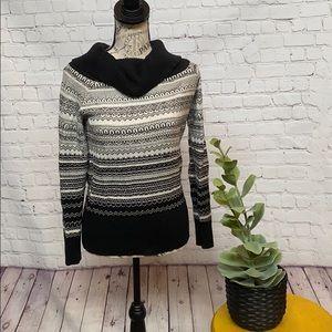 WHBM fair isle sparkle cowl neck sweater black